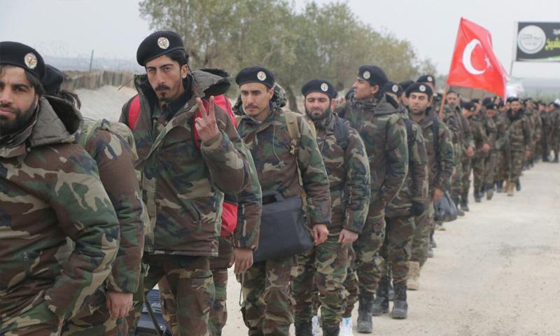 فرقة كوموندوس تابعة لفرقة الحمزة تتجه للمشاركة في معارك عفرين - 11 شباط 2018 (تويتر)