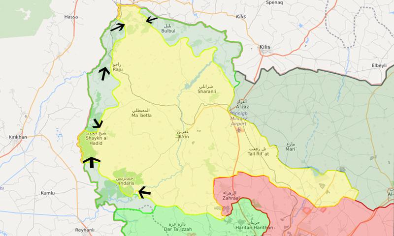 خريطة توضح نفوذ فصائل الجيش الحر والوحدات في منطقة عفرين – 21 شباط 2018 (LM)