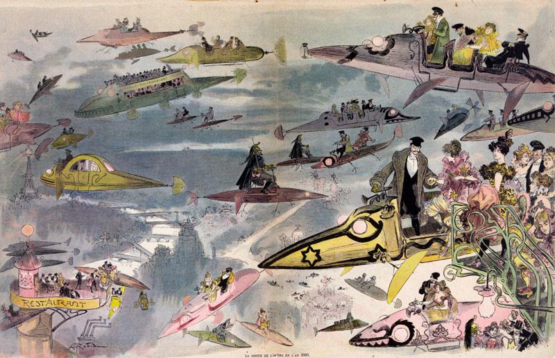 رسم تخيلي قبل 100 عام للسيارات الطائرة في المستقبل (Wikimedia Commons)