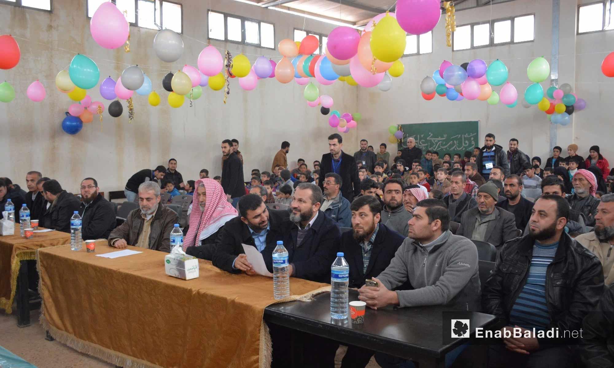 من حفل تكريم المتفوقين في تجمع أطمة الأول بريف إدلب - 20 شباط 2018 (عنب بلدي)
