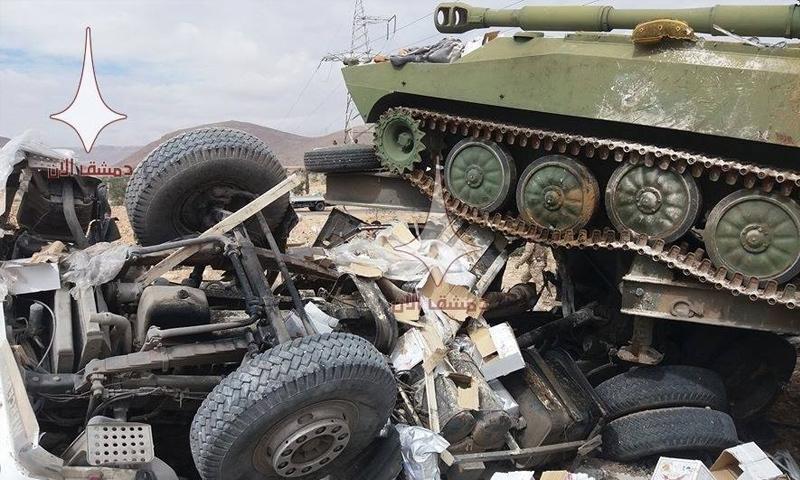 حادث سير على أوتوستراد دمشق حمص - 26 شباط 2018 (دمشق الآن)