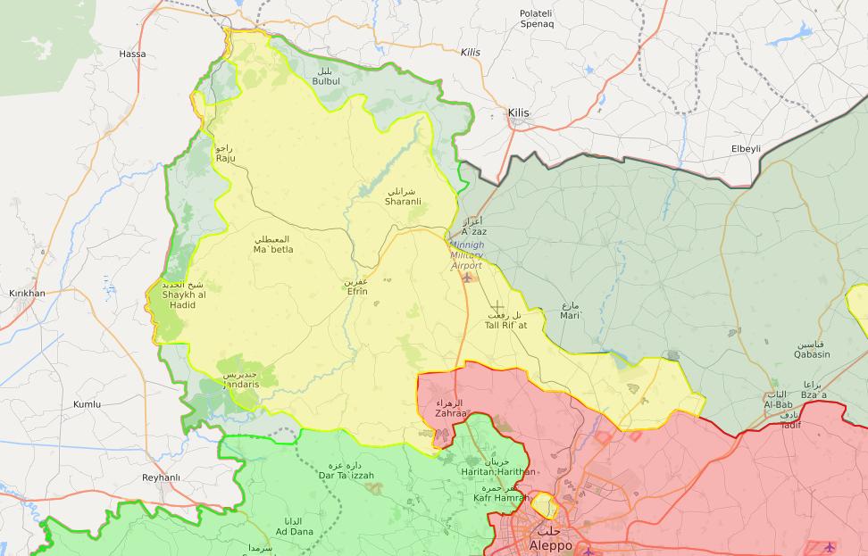 خريطة توضح نفوذ فصائل الجيش الحر والوحدات في منطقة عفرين – 20 شباط 2018 (LM)