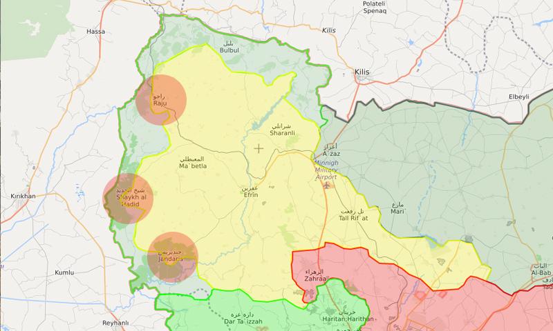 خريطة السيطرة في محيط عفرين – 28 شباط 2018 (تعديل عنب بلدي)