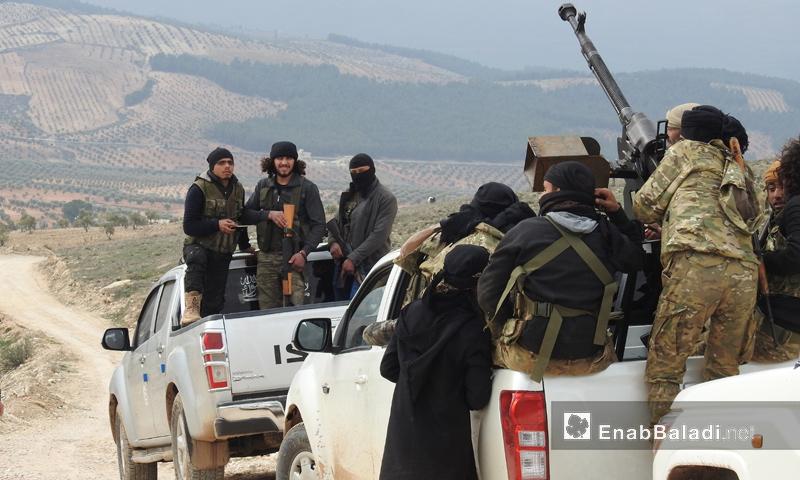 عناصر من الجيش الحر على محور شران في محيط منطقة عفرين - 20 شباط 2018 (عنب بلدي)