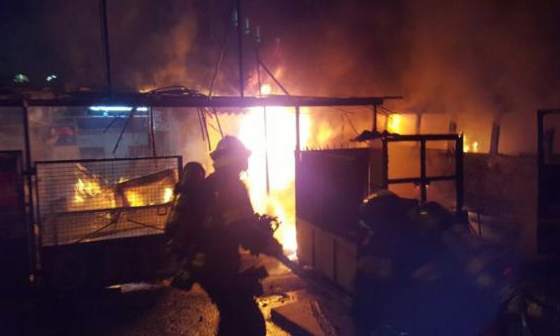 حريق في مخيم الزعتري (عمون)