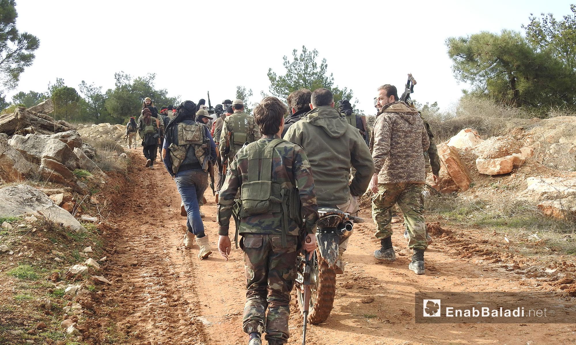 """عناصر من الجيش الحر في معركة """"غصن الزيتون"""" في منطقة عفرين شمالي حلب - 1 شباط 2018 (عنب بلدي)"""