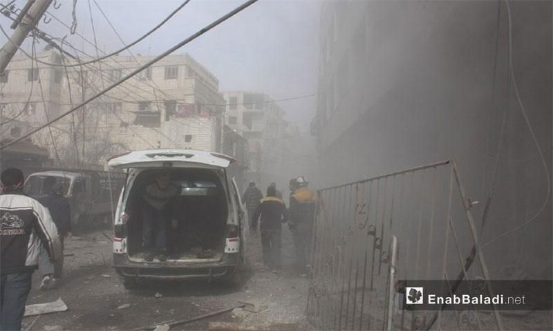 استهداف سيارة إسعاف في بلدة حمورية في الغوطة الشرقية (عنب بلدي)