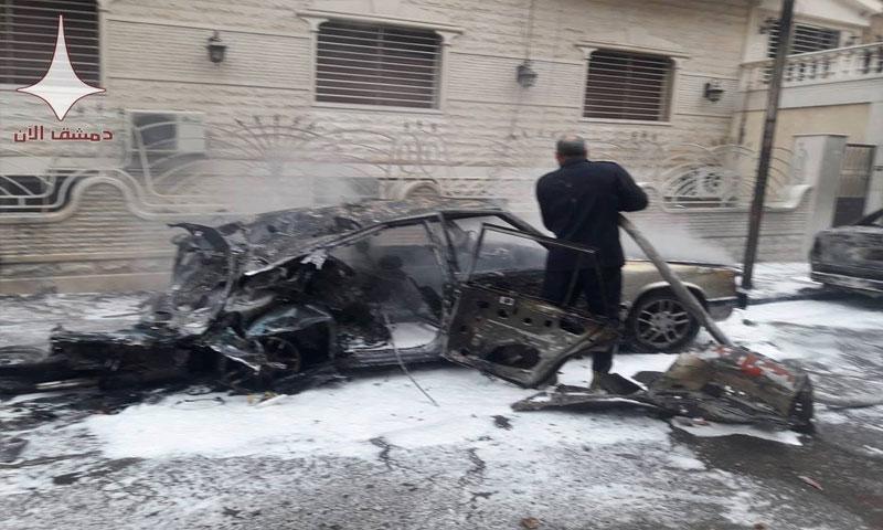 إحدى القذائف التي استهدفت شارع حلب (دمشق الآن)