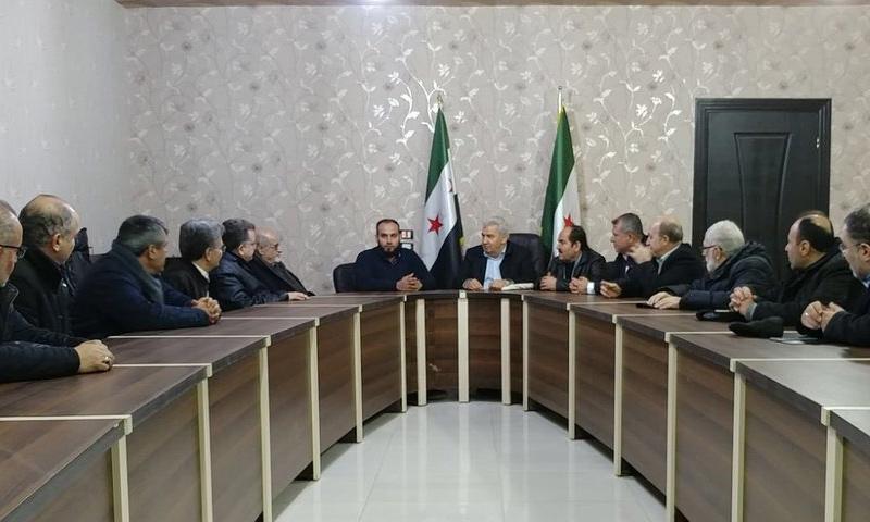 وفد من الائتلاف يجتمع مع الفيلق الثالث في ريف حلب- 17 شباط 2018 (الائتلاف تويتر)