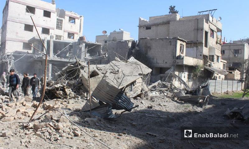 آثار القصف على بلدة حمورية في الغوطة الشرقية – 7 شباط 2018 (عنب بلدي)
