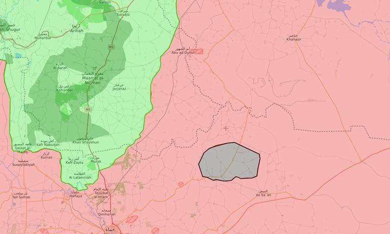"""خريطة السيطرة الحالية في ريف حماة الشرقي وتظهر بقة سوداء تمثل منطقة سيطرة تنظيم """"الدولة الإسلامية"""" - 8 شباط 2018 (liveuamap)"""