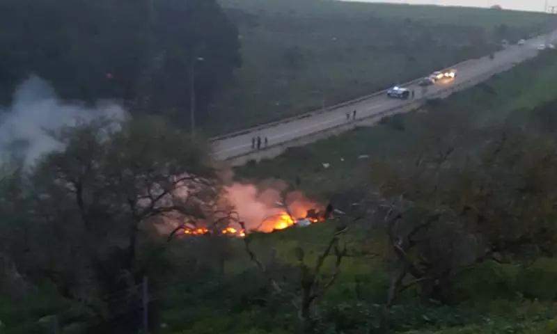 حطام الطائرة الإسرائيلية في منطقة الجليل المحتلة - 10 شباط 2018 (هآرتس)