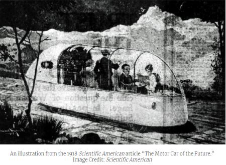 لوحة رسمت في 1918 عن السيارة الموتور في المستقبل (Scientific American)