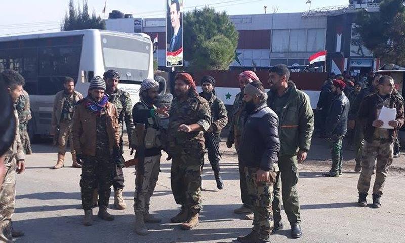 قائد ميليشيا قوات العشائر تركي البو حمد أثناء وصوله إلى مشارف الغوطة الشرقية - 20 شباط (صفحات موالية)