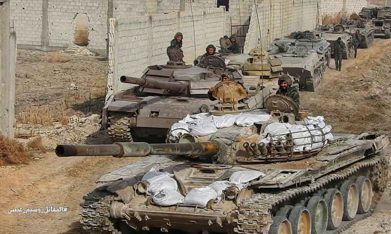 دبابات تابعة لقوات الأسد في محيط الغوطة الشرقية -19 شباط 2018 (وسيم عيسى)