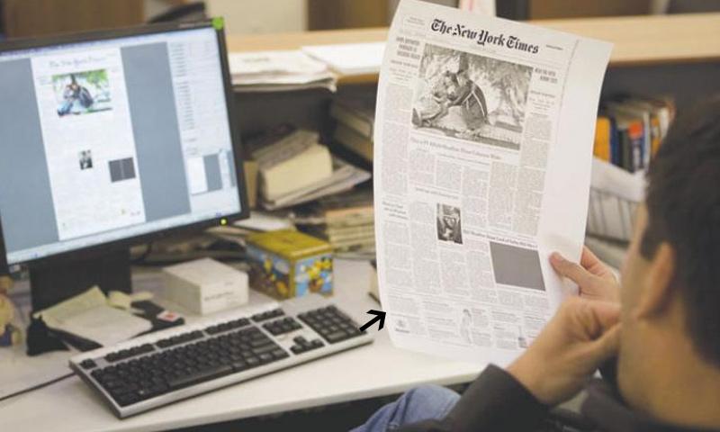 صورة أرشيفية لرسم الصفحة الأولى عقب اجتماع التحرير المسائي في نيويورك تايمز - (getty)