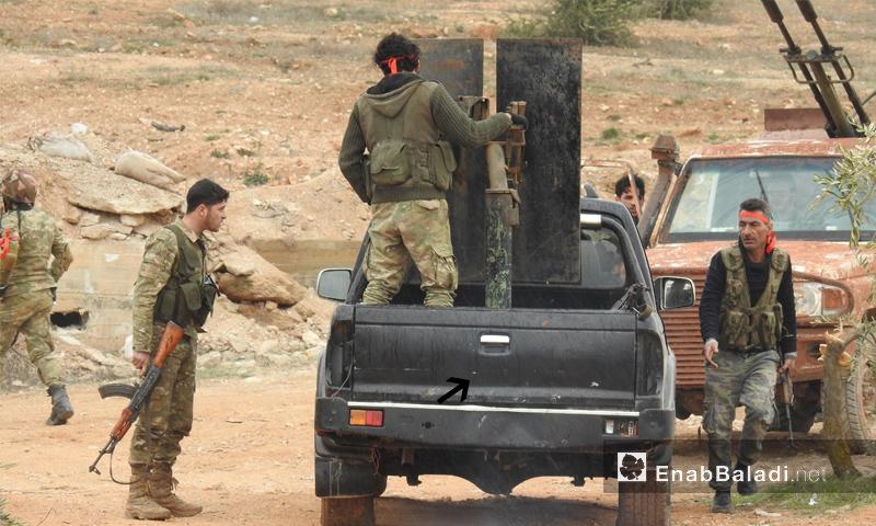 عناصر من الجيش الحر على محور شران في محيط عفرين - 11 شباط 2018 (عنب بلدي)