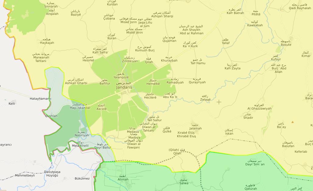 خريطة توضح وصل إدلب الشمالي مع محيط جنديرس غربي عفرين - 11 شباط 2018 (LM)