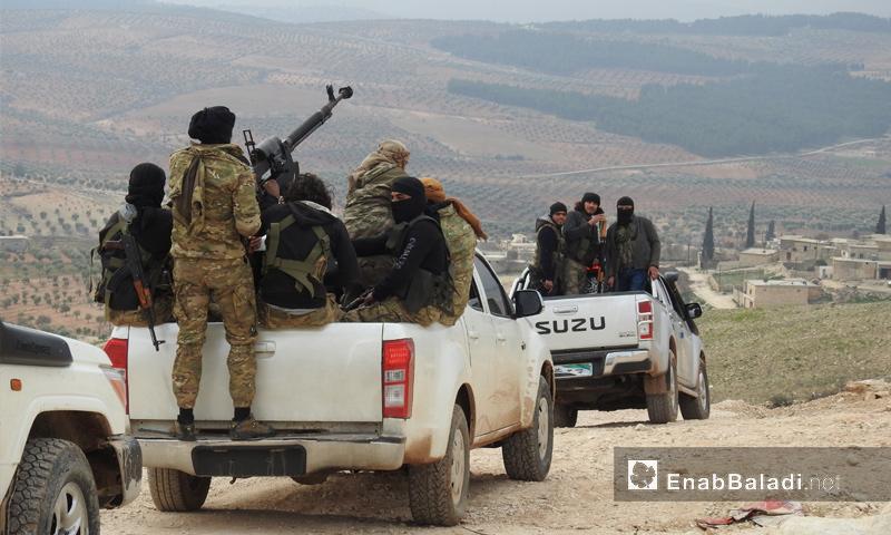 عناصر من الجيش الحر على محور شران شمالي عفرين - 20 شباط 2018 (عنب بلدي)