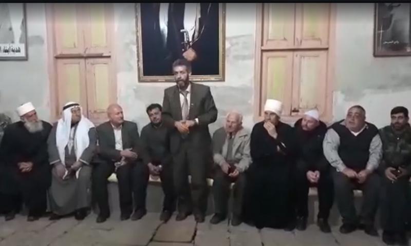 اجتماع إطلاق سراح المخطوف قاسم المقداد في السويداء - 22 شباط 2018 (رادار السويداء في فيس بوك)