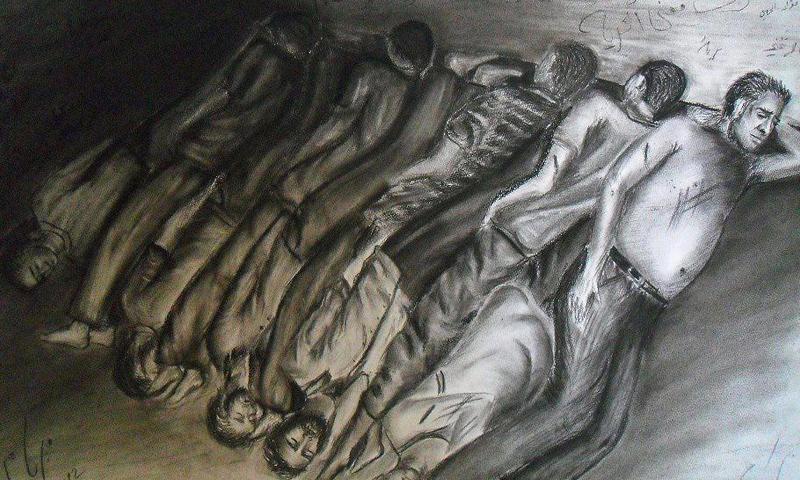 رسم تعبيري عن التسييف في السجون السورية (ناشطون)