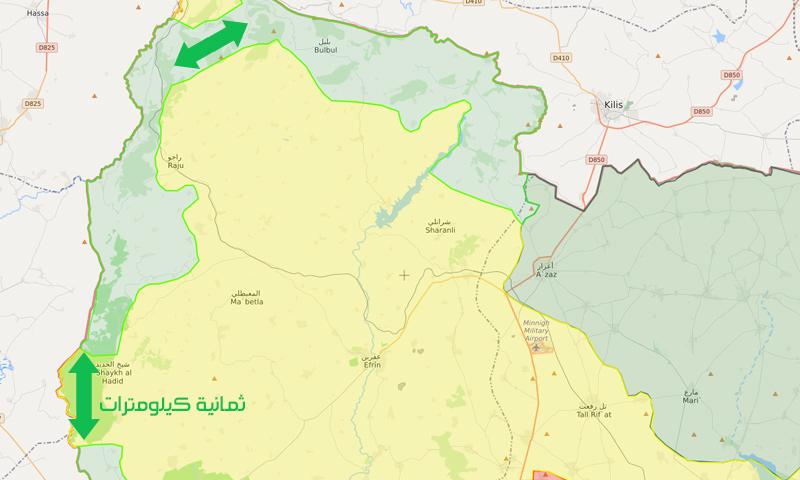 خريطة السيطرة في محيط عفرين – 25 شباط 2018 (تعديل عنب بلدي)