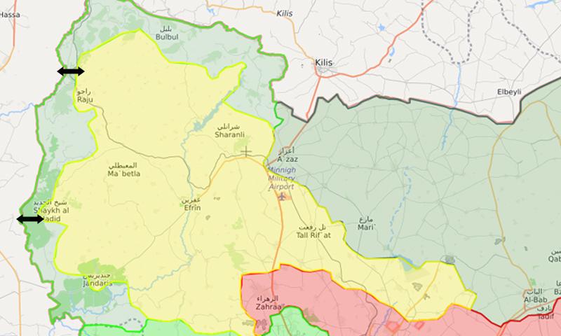 خريطة السيطرة في محيط عفرين - 26 شباط 2018 (LM)