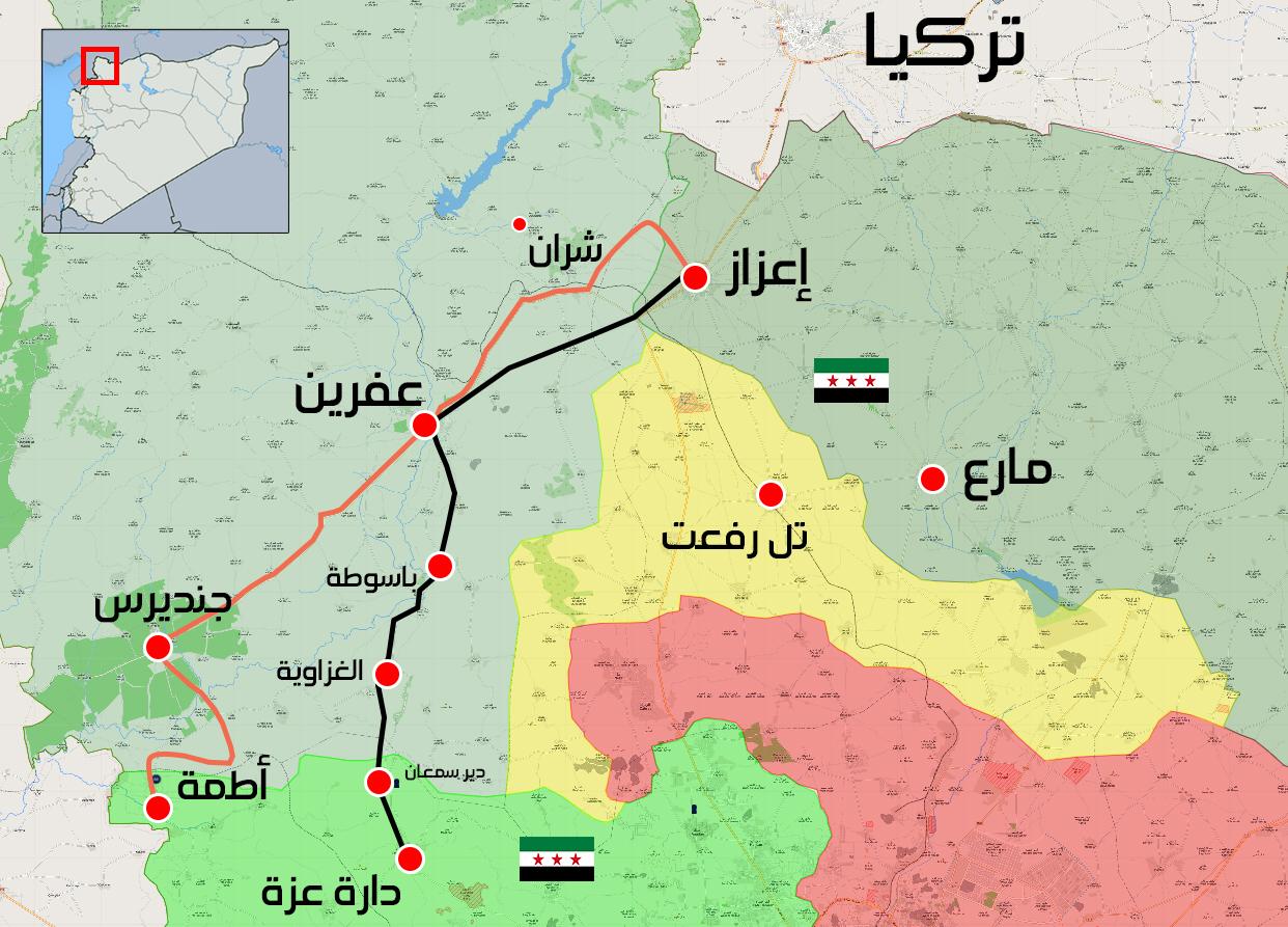 خريطة توضح الطرق الواصلة بين عفرين وإدلب وريف حلب الغربي - 31 آذار 2018 (عنب بلدي)