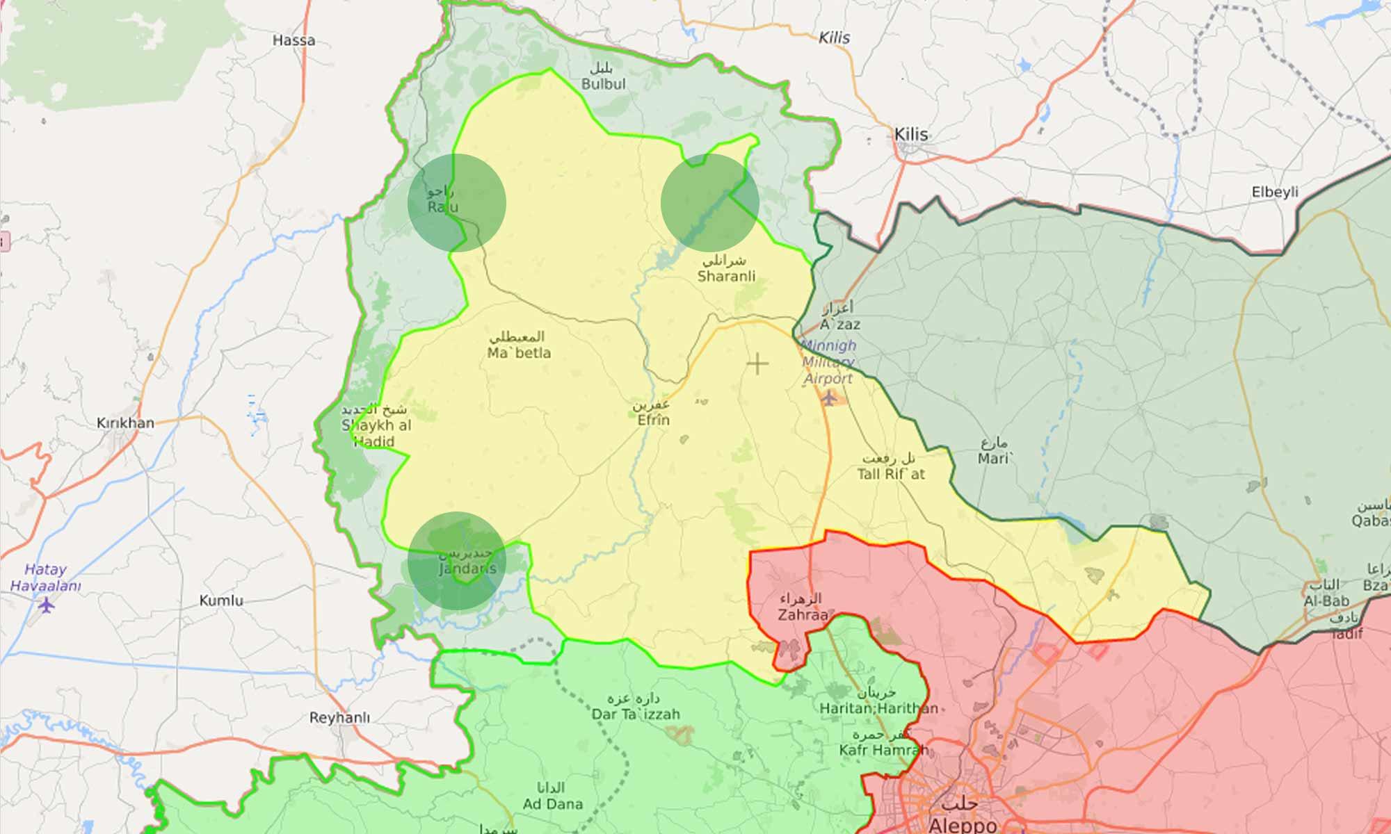 خريطة توضح المحاور التي تسير فيها فصائل الجيش الحر في محيط عفرين - 3 آذار 2018 (LM)