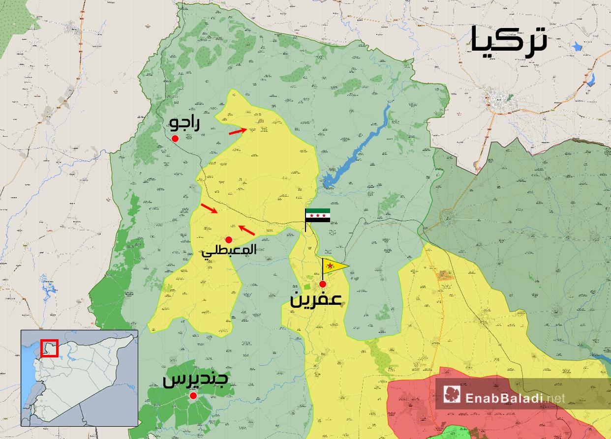 خريطة توضح نفوذ فصائل الجيش الحر في عفرين – 17 آذار 2018 (عنب بلدي)
