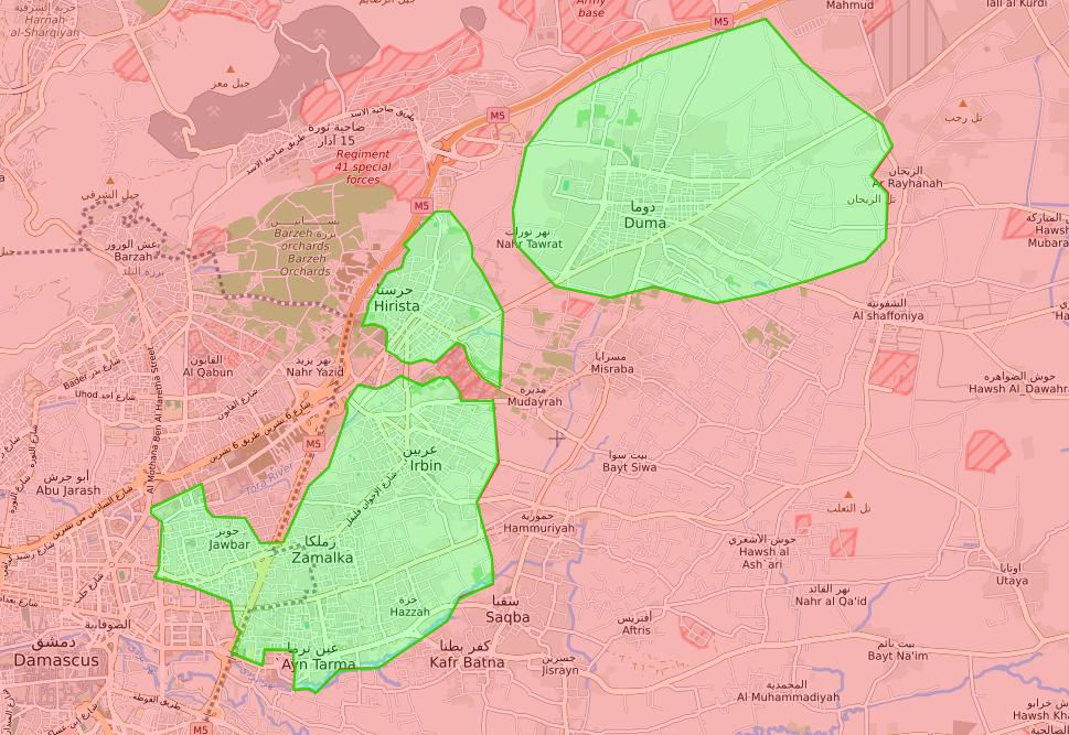 خريطة توضح نفوذ فصائل المعارضة في الغوطة الشرقية - 20 آذار 2018 (lm)