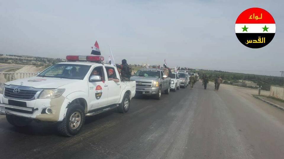 سيارات تتبع للواء القدس توجه إلى الغوطة الشرقية - 1 آذار 2018 (فيس بوك)