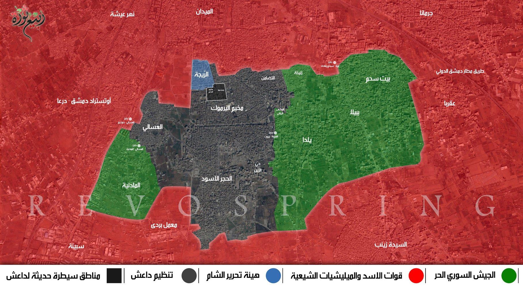 بخريطة توضح توزع السيطرة جنوب دمشق - 12 آذار 2018 (ربيع ثورة)