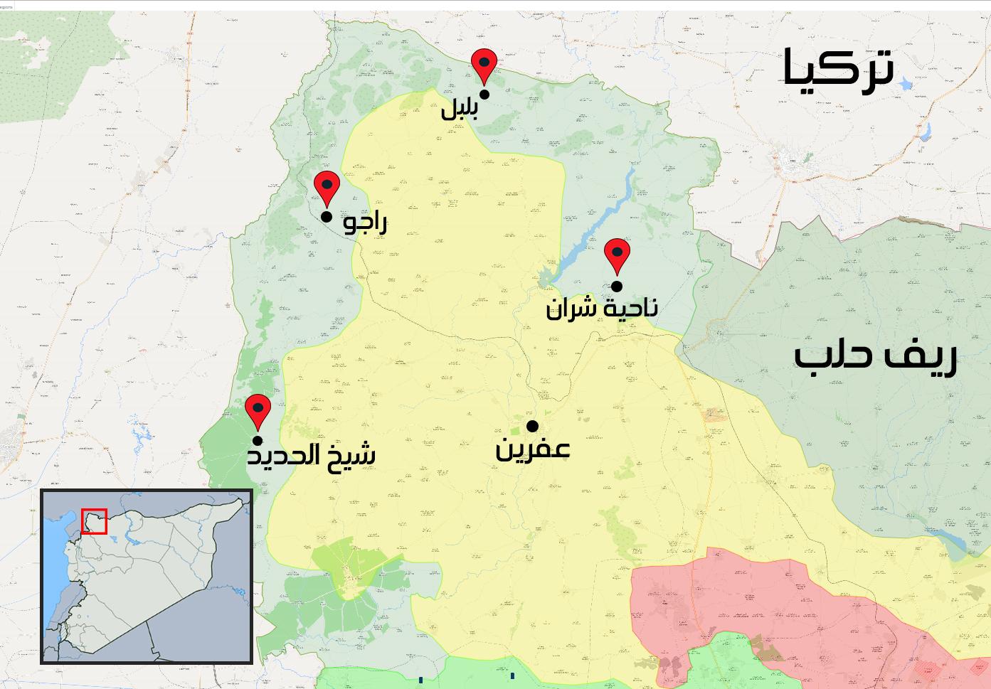خريطة توضح مواقع النواحي الأربعة التي سيطرت عليها فصائل الجيش الحر - 6 آذار 2018 (تعديل عنب بلدي)