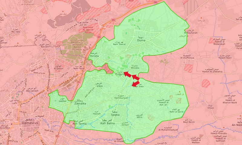 خريطة السيطرة في الفوطة الشرقية - 8 آذار 2018 (LM)