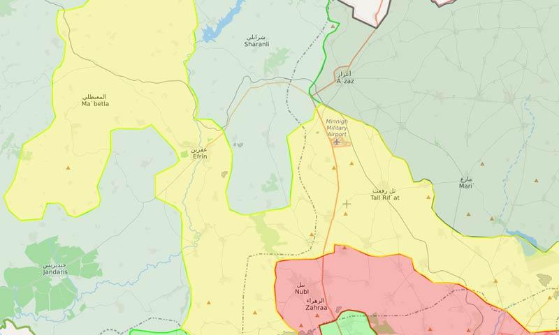 """خريطة السيطرة في عفرين ونقاط سيطرة """"الوحدات"""" شمالي حلب - 16 آذار 2018 (LM)"""