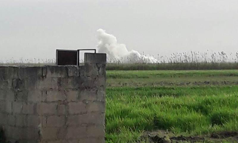 صورة تظهر تفجير مبنى المداجن غربي حماة - 22 آذار 2018 (ناشطون)