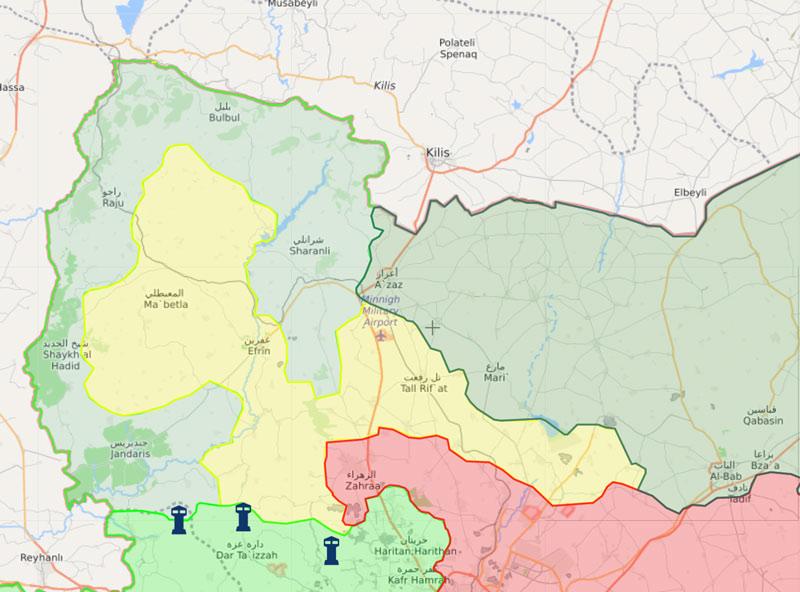 خريطة السيطرة في منطقة عفرين شمالي سوريا - 13 آذار 2018 (livemap)