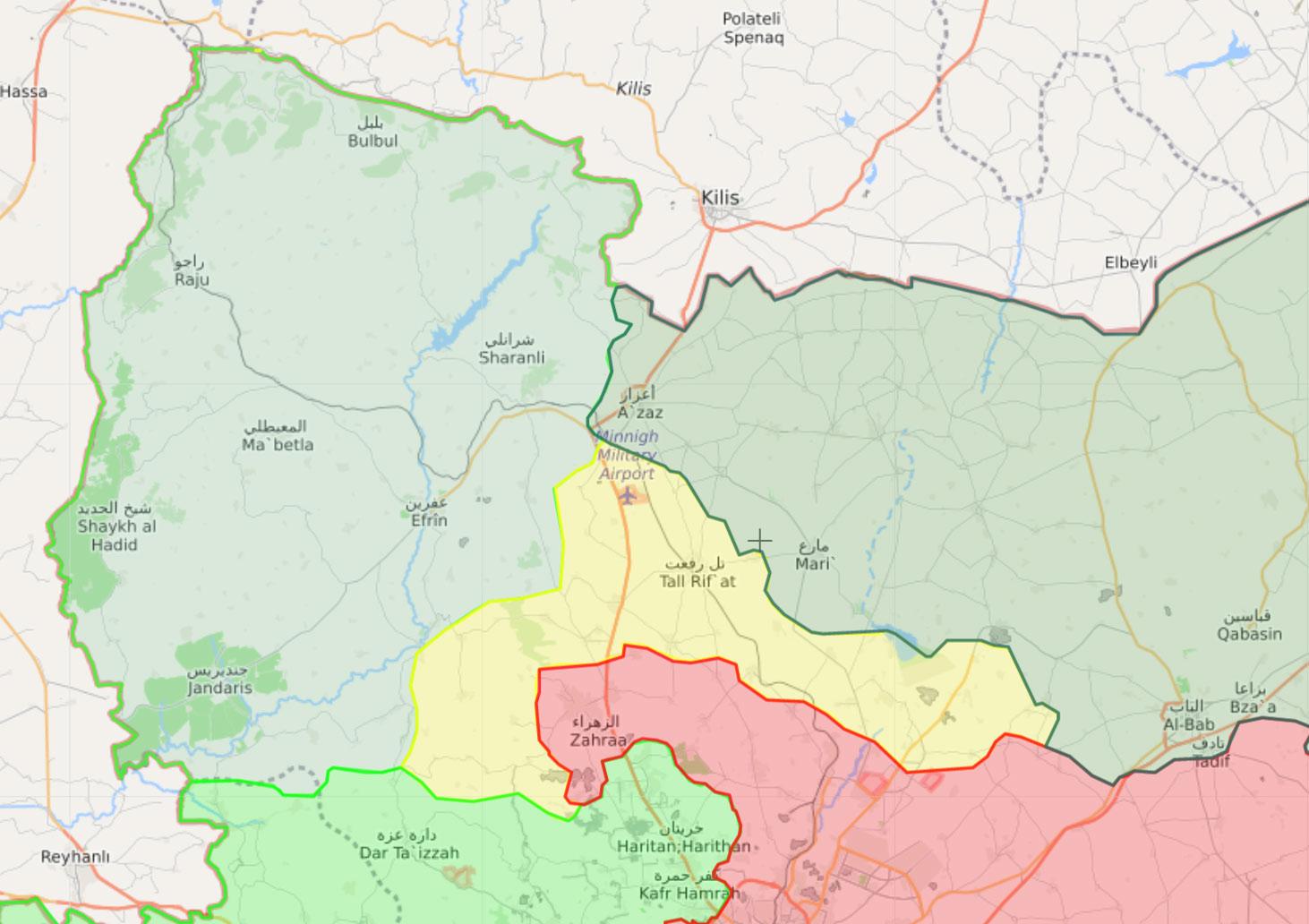 خريطة السيطرة في عفرين شمالي حلب - 20 آذار 2018 (Livemap)