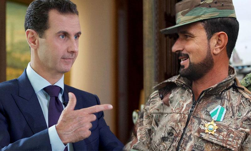 رئيس النظام السوري بشار الاسد والعميد سهيل الحسن (تعديل عنب بلدي)