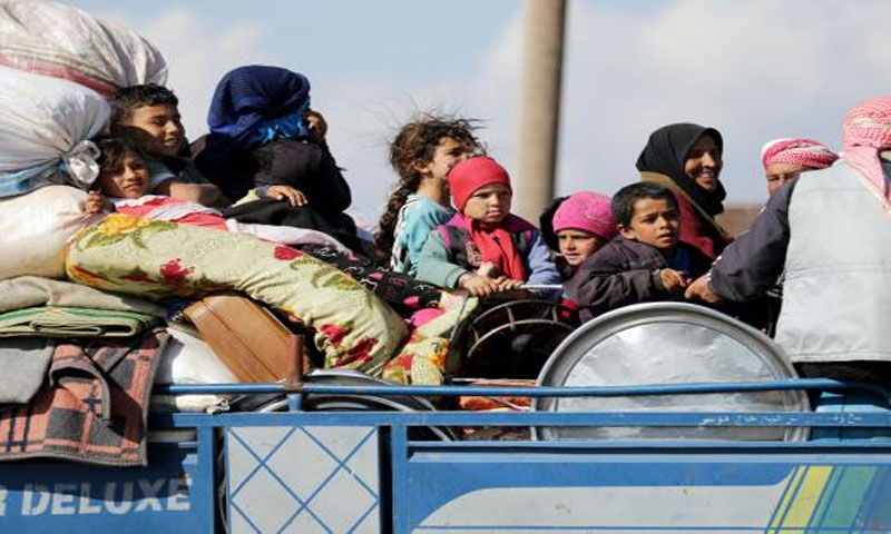 نازحون من منطقة عفرين في سوريا - 12 آذار 2018(رويترز)