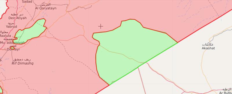 خريطة السيطرة في البادية السورية والقلمون - 18 آذار 2018 (livemap)
