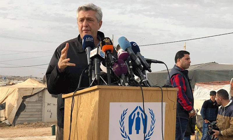 المفوض السامي لشؤون اللاجئين فيليبو غراندي في مخيم الزعتري للاجئين السوريين بالأردن 2018 (مفوضية اللاجئين)