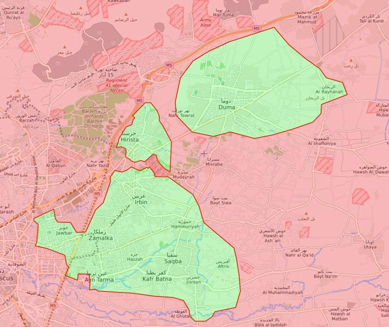 خريطة السيطرة في الغوطة الشرقية - 13 آذار 2018 (livemap)