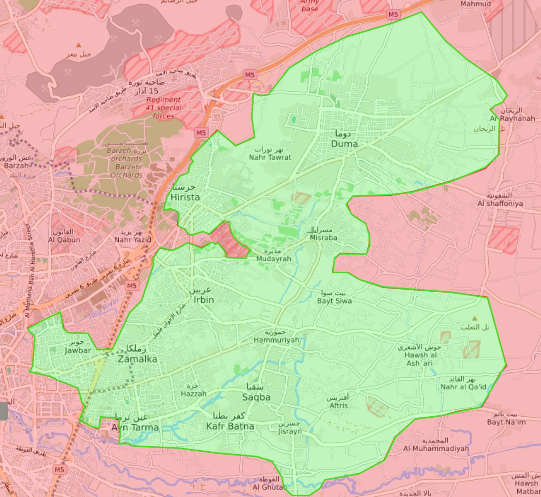 خريطة تظهر توزع السيطرة في الغوطة الشرقية لدمشق - 7 آذار 2018 (Livemap)