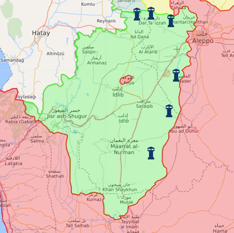 خريطة السيطرة وتوزع نقاط المراقبة التركية في محافظة إدلب - 13 آذار 2018 (livemap)