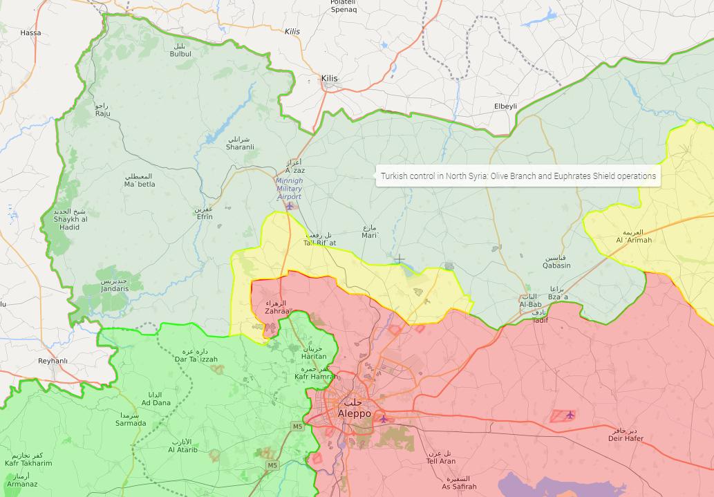 خريطة توضح نفوذ فصائل الجيش الحر في منطقة عفرين ومحيطها - 27 آذار 2018 (LM)