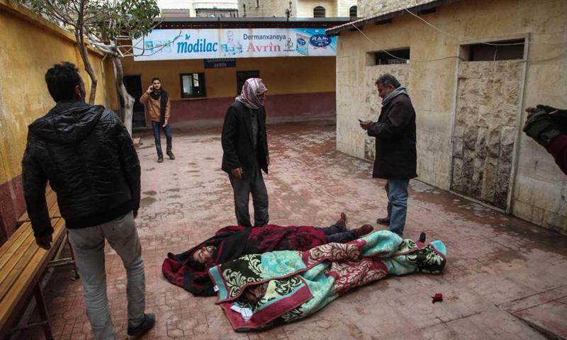 ضحايا مدنيين جراء قصف حوي استهدف مركز مدينة عفرين - 16 آذار 2018 (مركز عفرين الإعلامي)