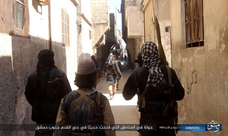 عناصر من تنظيم الدولة الإسلامية في حي القدم جنوب دمشق - 16 آذار 2018 (أعماق)