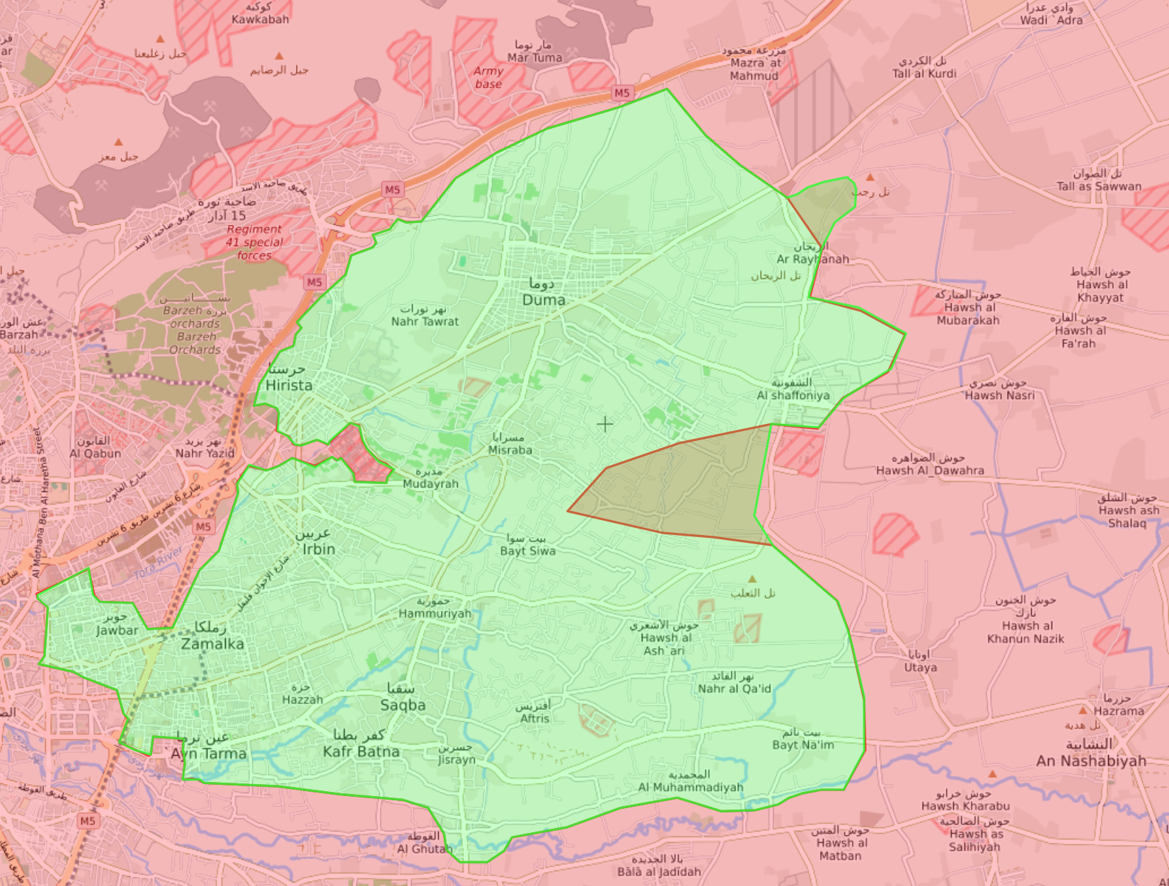خريطة تظهر توزع السيطرة في الغوطة الشرقية - 4 آذار 2018 (livemap)
